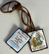 Our Lady of Mount Carmel Brown Scapular made of wool with Brown Cord shows Our Lady with Saint Simon and Our Ladys promise ABJSSCL