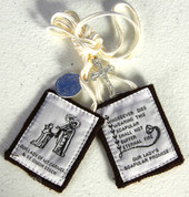 Our Lady of Mount Carmel Brown Scapular Wool with white cord Crucifix and Saint Benedict Medal comes with Instructional Pamphlet ZRW1007