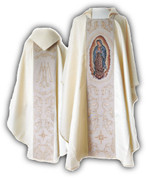 White Damask Chasuble Our Lady of Guadalupe Marian Symbol ECCSNDAMSC172