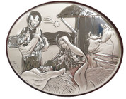Nativity Plaque Silver Finish on Wood Available in 3 Sizes LALC7