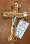 Eastern Orthodox Holy Elements Crucifix with Frankincense Earth Leaves and Stones From Jerusalem made of Olive Wood In Bethlehem measures 9 inches by 5 inches BAOWCRS0254