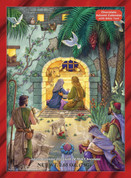 Peaceful Nativity Advent Calendar Windows Open To Reveal Scripture and Chocolate 2 point 6 ounces Milk Chocolate Total calendar measure 10 by 13 and 3 quarters inches VCBB119
