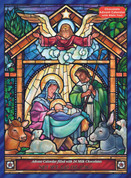 Chocolate Advent Calendar Stained Glass Nativity with Bible Text VCBB121