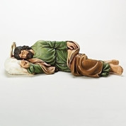 Sleeping saint joseph Statue tory Card Rich Colors With Gold Accents Resin measure 22 and 1 half inches long RO65919