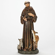 St Francis Statue Made from Resin Stone Mix Josephs  Studio Design Size 18 by 7 and 3 quarters inches RO69898