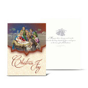 Bethlehem Christmas Card Drummer Boy and Shepherd with Envelope Gold Embossed HICC8105