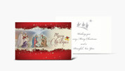 Merry Christmas Card Holy Family and the Magi with Envelope Gold Embossed HICC8108