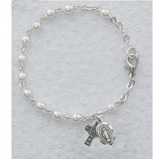 Irish Bracelet Pearl Styled Beads Celtric Cross and Miraculous MAB50DM