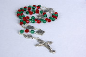 Rosary Journey to the Nativity Green and Red Glass Beads COC07772RG