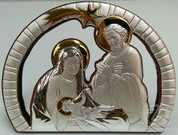 Holy Family | Silver and Gold Toned | Stand Up Plaque | 5.5"