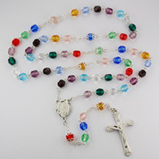 Multicolored Glass Beaded Rosary Rhodium Plated Center and Crucifix Miraculous Center MAR613RF