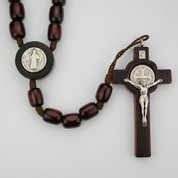 St Benedict Rosary with Medal in Crucifix and Center in Dark Brown Wood MAR608DF