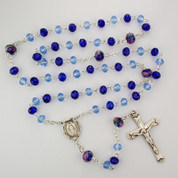Light and Dark Blue Crystal Beaded Rosary | Sterling Silver Miraculous Center and Crucifix