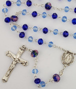 Light and Dark Blue Crystal Beaded Rosary with Rhodium Miraculous Center and Crucifix MAR580RF