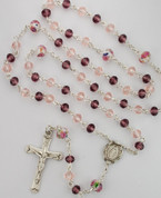 Pink and Purple Crystal Beaded Rosary with| Sterling Silver Miraculous Center and Crucifix MAR581LF