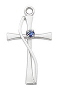 "Cross with Sapphire Styled Stone Sterling Silver 18"" Chain MAL9168"