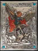 "Icon of St Michael the Archangel with Painted Body in Silver and Turquoise Accents Size 10.5"" 104P"