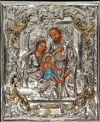 "Icon of the Holy Family with Painted Body in Silver and Gold Accents Size 12.5"" 98"