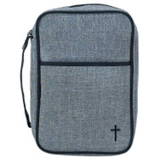 Bible Case | Large Print | Grey Heather Cotton/Polyester | Embroidered Black Cross