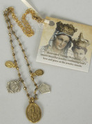 Our Lady of Fatima Heirloom Necklace Pyrite Stones 5 Medals FOGFATI061301