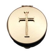 Latin Cross Pyx Brass With Polished Finish Inside & Out Recommended for Unconsecrated Host select from 2 sizes Made In USA CTPS20