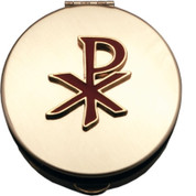 Brass Pyx with enameled red chi rho emblem measures 1 and 1 half by 1 half inches Made In USA CTPS711