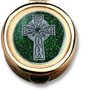 Pewter Celtic Cross with Green Glitter Pyx made of lead free pewter with 24 karat gold plate finish select from 3 Sizes Made In USA CTPC931-CTPC933