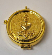 "24K GP Brass Pyx | Communion Emblem | Loop Attached | 2-1/8"" x 3/4"" 