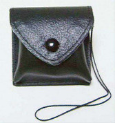 Burse Case for Pyx Black Leather Snap Button & Cord Made In Italy for pyx up to 1 and 3 quarters inch diameter SALART27V