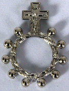 Finger Rosary Ring with Crucifix in Oxidized Metal RI15208