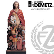 Jesus protector of all children statue is available in fiberglass or linden wood select from 2 sizes and 5 finish options DM10032FR