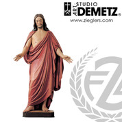 statue of resurrected lord fashioned after Thorvaldsens Christus hand carved from linden wood select from 2 Sizes made in italy DM10036
