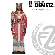 Christ the King statue measures 60 inches high  made of Fiberglass or linden wood select from bronze color natural stain or white marble finish crafted in Italy DM103