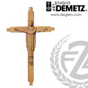 Christ the King on cross made of linden wood in choice of 5 sizes and choice of color stained or natural finish crafted in Italy DM103