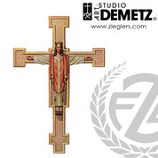 Christ the King on beaded edge cross made of linden wood in choice of 5 sizes and choice of color stained or natural finish crafted in Italy DM110