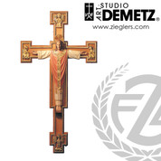 Christ Rex on cross made of linden wood in choice of 4 sizes and choice of color stained or natural finish crafted in Italy DM112