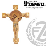 Crucifix with Byzantine Style cross made linden wood or fiberglass in choice of in choice of 48 60 72 or 96 inches and choice of color stained or natural finish crafted in Italy DM1201