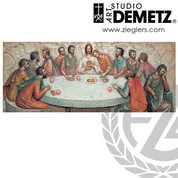 Last Supper relief panel by Sister Angelica measures 48 by 16 inches made of Fiberglass Crafted In Italy DM1284