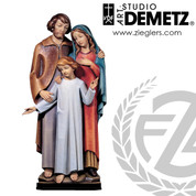 Holy Family Wall Statue in fiberglass or carved from linden wood in choice of bronze white colored stained or natural finish and choice of 24 36 48 or 60 inch heights crafted in italy DM1403FR