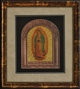 "Our Lady of Guadalupe Halogram | Metal Frame with Wooden Frame Artwork | 14"" x 16"""