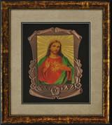 "acred Heart of Jesus Halogram Metal Frame with Wooden Frame Artwork Size 14"" x 16"" ELIVF3740C"
