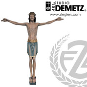 Corpus hand carved from Linden Wood with INRI Scroll shows Christ with eyes open and no wound in side measures 48 inches with choice of natural stain or color finish Crafted In Italy DM256