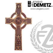 Celtic Cross  measures 48 inches by 30 inches made of Fiberglass in choice of bronze color or white marble finish Crafted In Italy DM26014