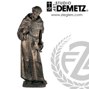 Saint Francis of Assisi holding dove Statue made of linden wood or fiberglass available in 24 40 60 or 72 inch heights with choice of natural bronze stain color or white marble finish crafted in italy DM398FR