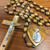 Wall Rosary in Olive Wood with Heart Center and the Holy Family from Jerusalem BAROWW