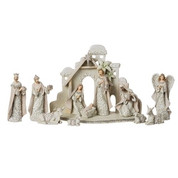 12 Piece Traditional Nativity Set Includes Animals and Stable Ivory Lace RO130040
