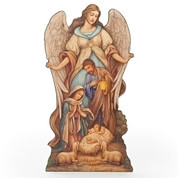 "Holy Family at Manger with Angel Plaque with Easel  By Joseph Studio 20"" RO66082"