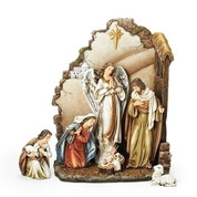 "7 Piece Nativity Back Wall Platform Joseph Studio 13"" RO66088"