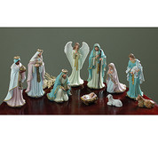 10 Piece Victorian Style Nativity Set | Resin | Pastel Colors | 8-3/4"