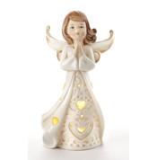 """Kneeling Angel Figurine   6""""   Porcelain   Lighted   LED   Gold Accents   54871"""